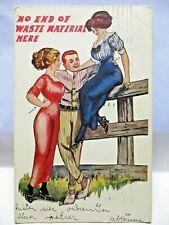 1910 POSTCARD NO END OF WASTE MATERIAL HERE - MAN BETWEEN 2 LADIES