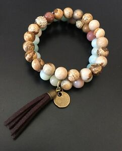 Fashion Women  Armband Amazonite Antique Bronze Tassel Bracelets set Woman Gift