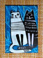 ACEO original pastel painting outsider folk art brut #010349 surreal funny cat