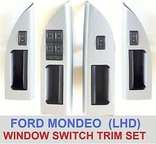 FORD MONDEO MK 3 LHD DOOR WINDOW SWITCH PANEL TRIMS - SILVER CARBON FIBRE EFFECT