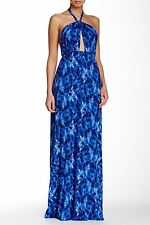 NWT Rachel Pally Reid in Gemstone Feline Blue Keyhole Halter Maxi Dress M $238