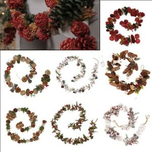 Rustic Christmas Berry Pinecone Garland Stairs Fireplace Mantel Decoration