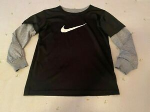 Nike Dri-Fit Black and Gray Long Sleeve Shirt Boys Size 5