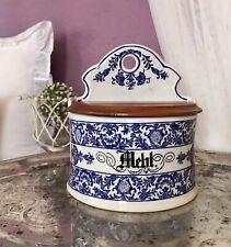 Antik  Porzellan Dose Vorratsgefäß Mehlmeste Vorratsdose zum Aufhängen Mehl