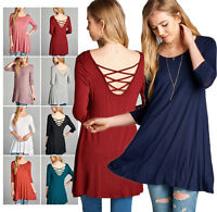 Womens Round Neck 3/4 Sleeve Cross Strappy Back Tunic Top Loose Dress S M L XL