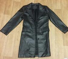 Skinz Long Black Real Leather ladies coat UK size 8 Womens Jacket Knee length
