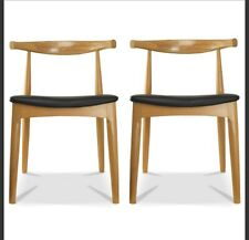 Arm Wood Dining Chair Kitchen Work Modern Natural Oak Wood PU Leather Cushion
