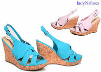 NEW Fashion Slingback Strappy Open Toe Wedge Women's Sandal Shoes Size 5.5 - 10