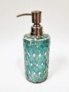 NEW TEAL GREEN+CLEAR DIAMOND PATTERN GLASS MOSAIC MIRROR SOAP,LOTION DISPENSER