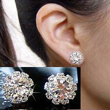 Womens 925 Sterling Silver Plated Rhinestone Crystal Flower Stud Earrings 9mm