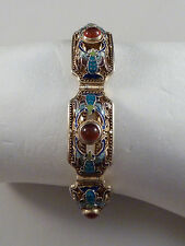 filigranes Armband - China - Karneol-Cabochons + Emaille - Silber vergoldet