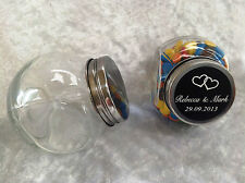 SUPER SPECIAL - 30 x Mini Glass Candy Jars with Personalised Labels
