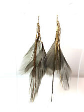 ELEGANT STUNNING GREY FEATHER EARRINGS MULTI LAYER TASSEL BRAND NEW UNIQUE (A13)