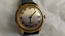 Vintage Man's Timex Date Hand Wound Watch Runs And Looks Good New Leather Strap
