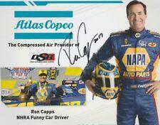 2017 Ron Capps signed Atlas Copco Dodge Charger Sema Show Promo Nhra postcard
