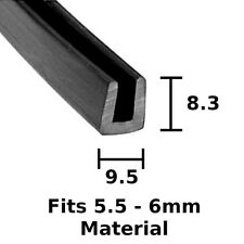 Rubber U Channel Square Edging Trim Seal Fits 6 mm