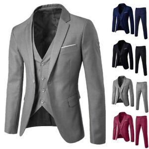 Business Men 3-Piece Suit Plus Wedding Party Slim Suit Blazer Jacket Vest&Pant