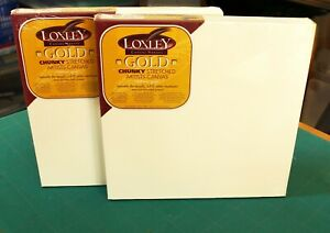 """2 X LOXLEY GOLD STRETCHED CHUNKY DEEP FRAME BOX CANVAS 305 X 305 X 36MM 12""""X12"""""""