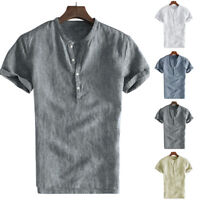 Men's Short Sleeve Cotton Linen T Shirts Collarless Beach Casual Tops Blouse Tee