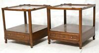 Pair of Baker Milling Road Mahogany Side Tables w/ Shelf and Drawer