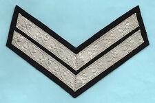 BRITISH ARMY No1 DRESS CPL RANK CHEVRONS SILVER ON BLACK - IRISH LACE PATTERN