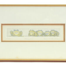 """RACHEL BADEAU """"NEARSIGHTED"""" Frogs Etching Framed Matted LIMITED EDITION"""