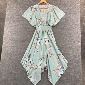 Malibu Womens Dress Size 8 Blue Floral Elastic Waist Flare Sleeve A-Line 301.10