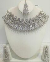 New Indian Bollywood Costume Jewellery Necklace Set Silver Design Wedding  tikka