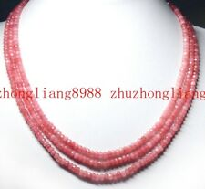 3 Rows Natural 2x4mm Rhodochrosite Faceted Gemstone Beads Necklace 17-19'' AAA