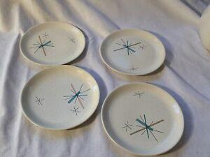 "Set of 4 Salem Hopscotch Hop Scotch Turquoise 6 1/4"" Bread Plates Free Form"