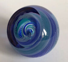 CAITHNESS LIMITED EDITION BLUE SWIRL GLASS PAPERWEIGHT Eye Of The Storm 33/750
