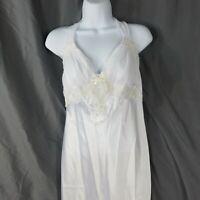 Vintage Dentelle Long White Night Gown Bridal Honeymoon Size M Beads Lace USA