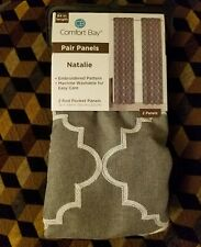 Comfort Bay Pair Panel Curtains Natalie Embroidered 2 Rod Pocket 26in x 84in