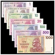 Zimbabwe Banknotes Set 7pcs (UNC) 津巴布韦7张(1-1000元)大全套 纸币