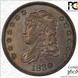 1830 Half Dime, PCGS AU58, Super Original with Color!