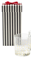 Unbranded Glass Set (only one) with Black White Striped 2pc Gift Box