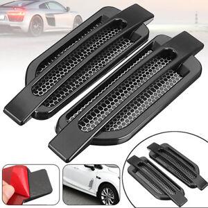 2pcs Car Side Air Flow Vent Fender Decorative Decor Sticker Black Universal