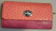 Esbeda Women's Ostrich Embossed Leather, Envelope Style, Pink, Wallet, Clutch