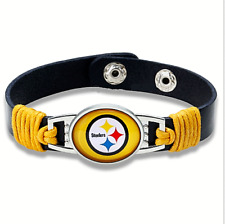 Pittsburgh Steelers NFL Leather Glass Logo Bracelet Band Jewerly