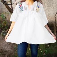 Summer Women Plus Size Loose Lace Tunic Blouse Floral Peasant Tops Beach T Shirt