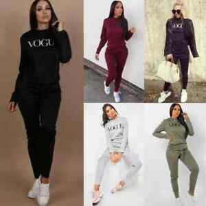 New Womens Ladies Vogue Print Lounge Wear Tracksuit Top and Jogger 2 Pcs Set