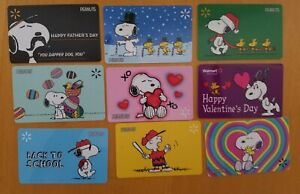 9 Walmart Snoopy, Woodstock, Peanuts Gift Cards, Collectible, Mint, PVC, Plastic