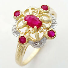 Ruby Diamond 9k Solid Gold Ring. 5 Rubies 4 Diamonds in Vintage Antique Style.