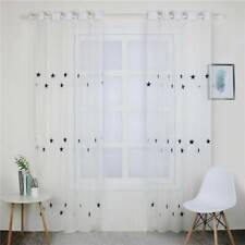 Thermal Cute Embroidery Sheer Curtain Length Ceiling Drapes Tulle Panel H