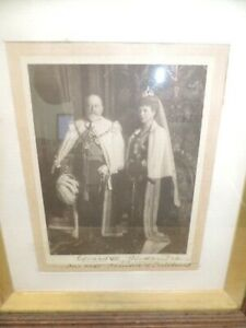 RARE Photograph Of King Edward VII HAND SIGNED BY QUEEN ALEXANDRA 1910