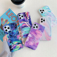 Case For iPhone 12 11 Pro Max XR XS 8 7 SE Colorful Marble Phone Silicone Cover