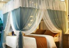 4 corner lights drapes Princess lace Bed Curtain Canopy Net For Queen King Bed