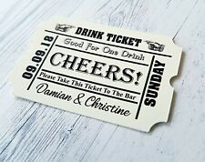 Personalised Wedding Favour Gift Tags Alcohol Or Drink Ticket Bar Token Labels