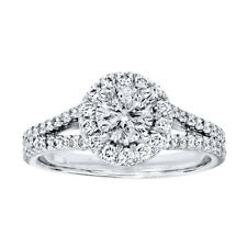 1.7 Ct Diamond Engagement Rings Solid 14kt White Gold Rings Sets Size M N O  SI1