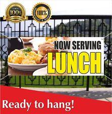 Now Serving Lunch Banner Vinyl / Mesh Banner Sign Many Sizes Flag Carnival Food